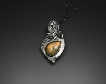 Handcrafted PMC Metal Clay Fine Silver Pendant With Labradorite - Endless Fire