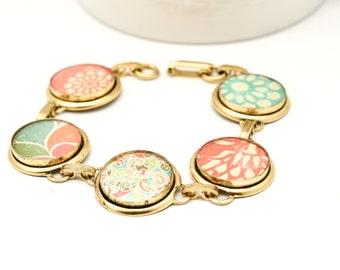 Gold Link Bracelet | Fiesta Gold Bracelet | Colorful Nature Inspired Resin Bracelet | Gold Floral Bracelet