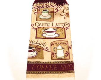 Caffe Latte Coffee Shop Hand Towel With Aubergine Crocheted Top