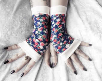 Rhosyn Bach Fingerless Gloves | Navy Royal Blue Pink Red Green White Ivory Ditsy Floral Rose Cotton | Yoga Cycling Bohemian Mori Girl Lolita