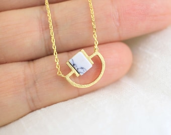 Dainty Necklace, White Marble and Gold  Pendent Necklace, Howlite Stone  Necklace, Bridesmaid Gift, Birthday Gift , Layered Necklace,6059
