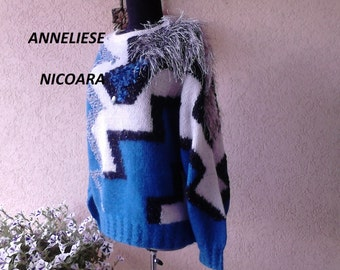 Women Pullover ,Cardigan ,Sweater ,Handknitted/One -Off-Design/Long sleeve in blue ,white and black /vintage design