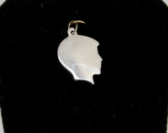 JEWELRY LIQUIDATION SALE Sterling Silver Little Boy Silhouette Pendant/Charm