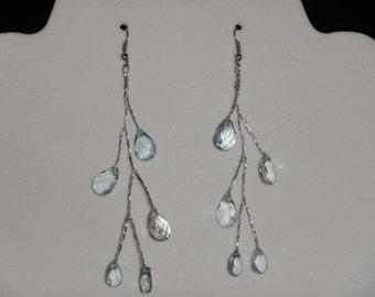 Blue Topaz Tear Drop Wire Wrapped Earrings