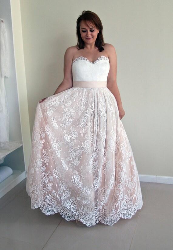 Trägerlosen Hochzeit Kleid a-Linie Brautkleid erröten rosa