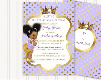 Little Royal Princess Lavender & Gold Crown Jewels   African American Vintage Baby Afro Puffs   Personalized Digital Invitation