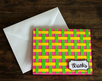Colorful Thank You Card, Set of 5, Greeting Card, Thank you note, Stripes, Thanks Card, Pink, Cute, Fun, Thank you notes, Thank you Card Set