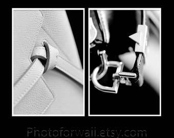 Bathroom wall decor set of 2 prints Celine bag Givenchy bag black and white photography/Bathroom Art/luxury wall decor/Givenchy print