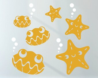Happy Clams StarFish Ocean Wall Decals Beach Under the Sea Cute Underwater Sea Life Wall Stickers Baby Nursery Kids Room Decor