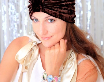 Turban Hat in Chocolate Brown Crushed Velvet - Fashion Hair Wrap - Lots of Colors