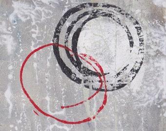 Enso IV - Februar 2017, abstrakte Malerei auf Papier, 4 x 4, kleines Kunstwerk