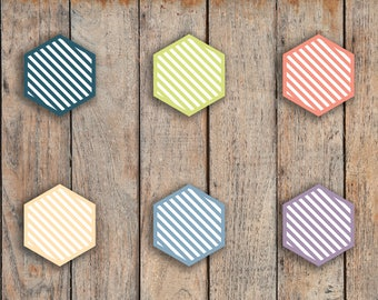 110 Striped Habit Tracker Small Hexagons, Hex Shape Icon Stickers for 2018 inkWELL Press Planners IWP-Q17