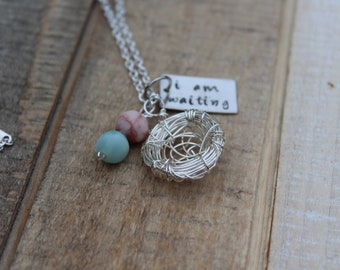 Infertility Birds Nest Necklace, Mothers Day gift, birthday gift, Waiting Necklace