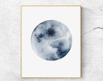 50%OFFWatercolor Moon Print, Indigo Blue Moon Art, Full Moon Print, Moon Art Print, Watercolor Moon Poster, Celestial Print, Modern Wall Art