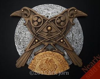 Odin's Raven's: Hugin and Munin. Norse/Viking mythology. Cold cast, layered relief. Limited edition of 150 signed & numbered castings.