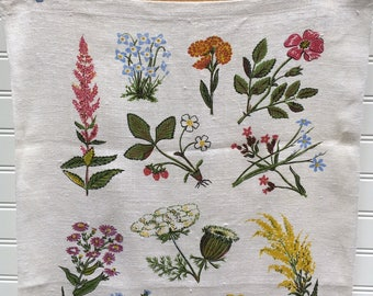 Vintage 1960s Meadow Bouquets Linen Towel by Robert Darr Wert, Country Prints, Wild Flowers, Midcentury Botanical Tea Towel