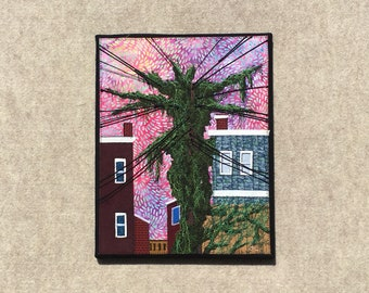 Into the Wilderness, 11x14 inches, original sewn fabric artwork, handmade, freehand appliqué, ready to hang canvas