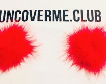 Red Feathery Nipple Covers - Uncoverme.club