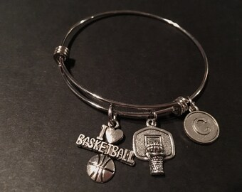 I LOVE BASKETBALL Adjustable Stainless Steel Bangle Bracelet with Basketball Hoop and Initial Charm