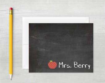 Personalized Thank You Notes • Teacher's Chalkboard {FOLDED} • 10 Note Cards with Envelopes • Custom Stationery • Personalized Stationary