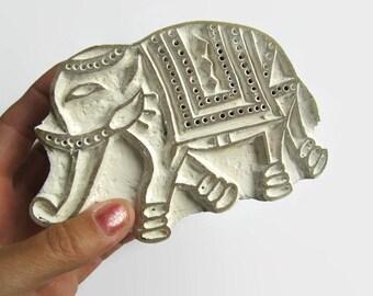 Vintage white India stamp, elephant stamp, vintage elephant stamp, India elephant stamp, white elephant stamp,  white stamp, India stamp