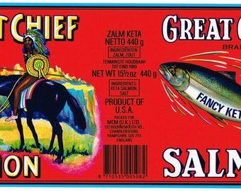 Original vintage Tin Can label Great Chief American Indian Salmon U.K. England Fancy Keta