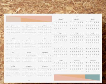 Printable PDF   A2 Double Year Wall Planner   2018 + 2019 Calendar   2 Year Overview   Date Tracker   Geometric   Instant Download