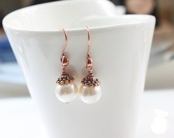 Angel Earrings/ Swarovski pearl earrings, wedding, bridesmaid gift, pearl earring, bride gift, Zoeyjewelry