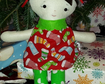 Holly the Christmas Doll, red stocking dress and green dot legs