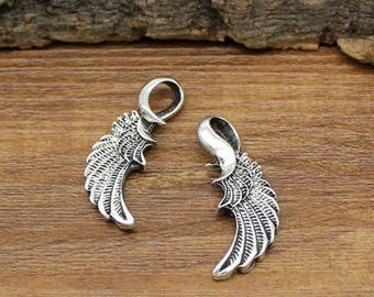 15pcs Antique Tibetan Silver Angel Wings Charms Pendant 2 Sided 31x12mm C0701-Y