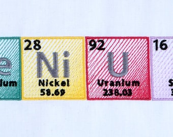 "Periodic table ""Genius"" machine embroidery design 5x7"