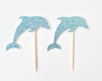 Dolphin Cupcake Toppers - Set of 12 - Under The Sea Birthday Party Decor, Dolphin Party Decor