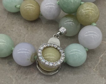 3 color natural Jadeite necklace