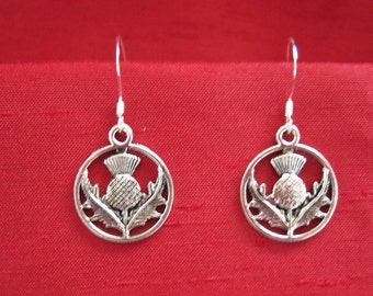 Scottish thistle earrings with sterling silver earwires