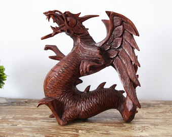 Dragon Statue Wood Sculpture Dragon Ornament Wood Carving Decoration Game of Thrones Dragon GOT