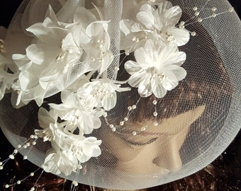 White French Birdcage Veil