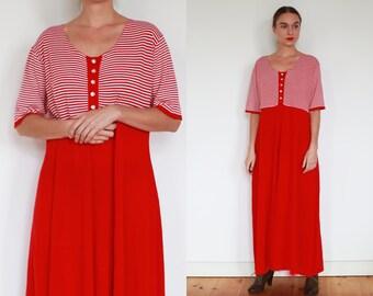 70s Red White Striped Knit Maxi Dress / M-L