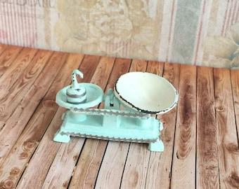 Dollhouse Shabby Shop Scales in Aqua
