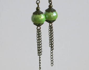 """Earrings """"almond"""" color ceramic beads, glossy, fine silver chain bronze color"""