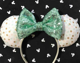 Fun-fetti sequin ears! Mouse ears, Minnie ears, Minnie Mouse ears, custom ears, mint ears, sequin Minnie ears