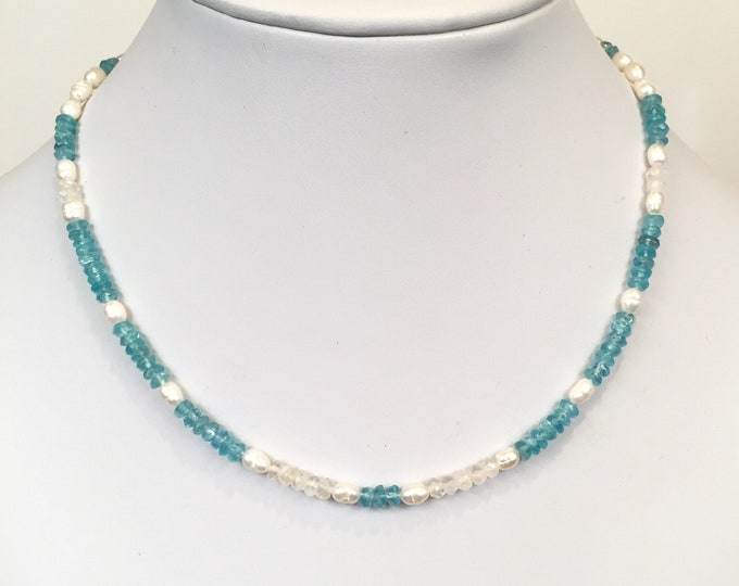 Island Hopper, featuring Apatite, Freshwater Pearls and Rainbow Moonstone