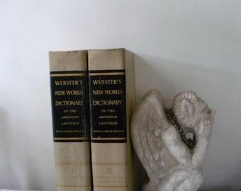 Vintage zweibändige Websters Wörterbuch der 1950er Jahre