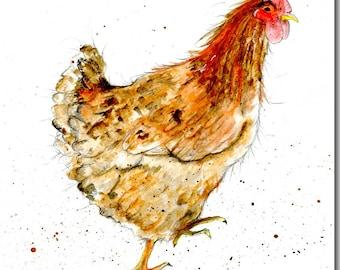 Busy Brown Hen Greeting Card - Chicken Card, Barnyard, Blank Inside