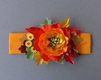 Baby headband. Thanksgiving Headband. Fall Flower Girl Headband. Photo Prop. Toddler. Fabric Flower Headband. Fall Headband. Orange, Yellow