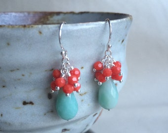 Coral and Amazonite Earrings