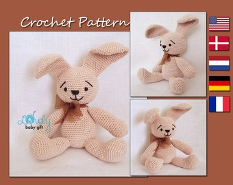 Amigurumi Animal Crochet Pattern - Stuffed Easter Bunny - Crochet Toy Pattern - Rabbit, CP-105