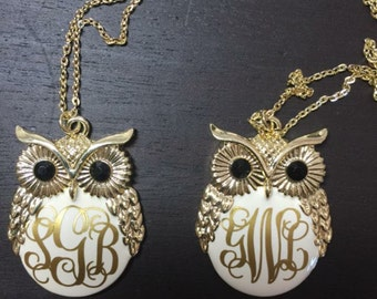 Monogramed owl charm necklace