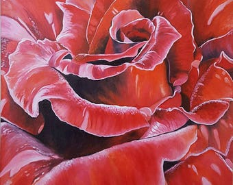 Free shipping,oil painting on canvas, red rose, 60 cm x 60 cm, flowers