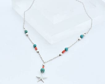 Boho Necklace Starfish Pendant, Silver Chain Necklace Turquoise Coral and Silver Starfish, Turquoise & Coral Boho Beach Jewelry Gift for Her