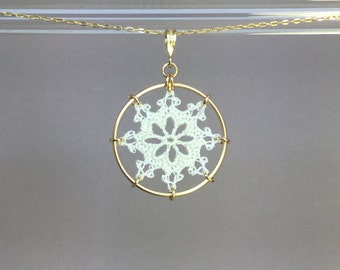 Nautical doily necklace, white silk thread, 14K gold-filled